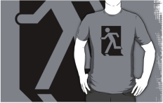 Running Man Fire Safety Exit Sign Emergency Evacuation Adult T-Shirt 44