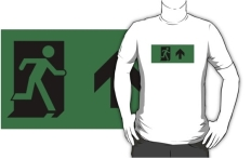 Running Man Fire Safety Exit Sign Emergency Evacuation Adult T-Shirt 46