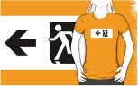 Running Man Fire Safety Exit Sign Emergency Evacuation Adult T-Shirt 48