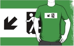 Running Man Fire Safety Exit Sign Emergency Evacuation Adult T-Shirt 50