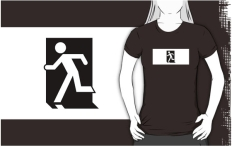 Running Man Fire Safety Exit Sign Emergency Evacuation Adult T-Shirt 53