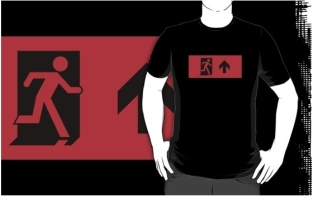 Running Man Fire Safety Exit Sign Emergency Evacuation Adult T-Shirt 54