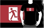 Running Man Fire Safety Exit Sign Emergency Evacuation Adult T-Shirt 57