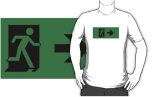 Running Man Fire Safety Exit Sign Emergency Evacuation Adult T-Shirt 58