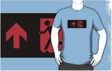 Running Man Fire Safety Exit Sign Emergency Evacuation Adult T-Shirt 6