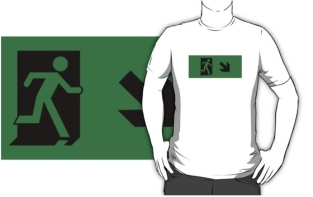 Running Man Fire Safety Exit Sign Emergency Evacuation Adult T-Shirt 60