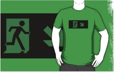 Running Man Fire Safety Exit Sign Emergency Evacuation Adult T-Shirt 63