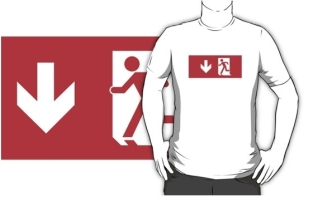 Running Man Fire Safety Exit Sign Emergency Evacuation Adult T-Shirt 65