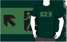 Running Man Fire Safety Exit Sign Emergency Evacuation Adult T-Shirt 66