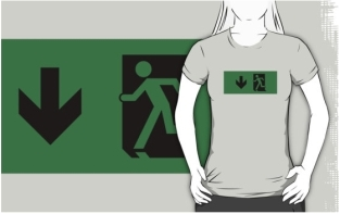 Running Man Fire Safety Exit Sign Emergency Evacuation Adult T-Shirt 68