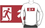 Running Man Fire Safety Exit Sign Emergency Evacuation Adult T-Shirt 70