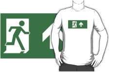 Running Man Fire Safety Exit Sign Emergency Evacuation Adult T-Shirt 72