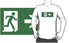 Running Man Fire Safety Exit Sign Emergency Evacuation Adult T-Shirt 73