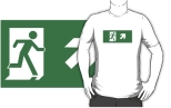 Running Man Fire Safety Exit Sign Emergency Evacuation Adult T-Shirt 75