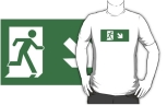 Running Man Fire Safety Exit Sign Emergency Evacuation Adult T-Shirt 76