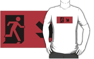 Running Man Fire Safety Exit Sign Emergency Evacuation Adult T-Shirt 77