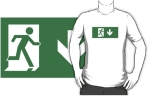 Running Man Fire Safety Exit Sign Emergency Evacuation Adult T-Shirt 78
