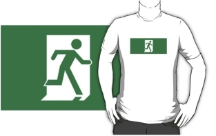 Running Man Fire Safety Exit Sign Emergency Evacuation Adult T-Shirt 79