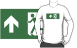 Running Man Fire Safety Exit Sign Emergency Evacuation Adult T-Shirt 80