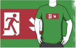 Running Man Fire Safety Exit Sign Emergency Evacuation Adult T-Shirt 81