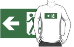 Running Man Fire Safety Exit Sign Emergency Evacuation Adult T-Shirt 83