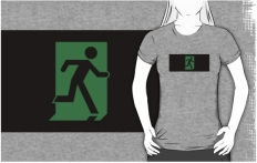 Running Man Fire Safety Exit Sign Emergency Evacuation Adult T-Shirt 85