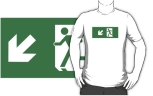 Running Man Fire Safety Exit Sign Emergency Evacuation Adult T-Shirt 86