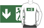 Running Man Fire Safety Exit Sign Emergency Evacuation Adult T-Shirt 87