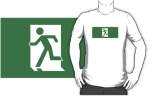 Running Man Fire Safety Exit Sign Emergency Evacuation Adult T-Shirt 88