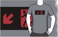 Running Man Fire Safety Exit Sign Emergency Evacuation Adult T-Shirt 9