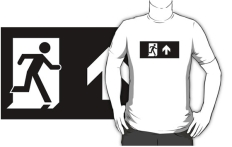 Running Man Fire Safety Exit Sign Emergency Evacuation Adult T-Shirt 90