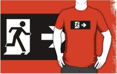 Running Man Fire Safety Exit Sign Emergency Evacuation Adult T-Shirt 91