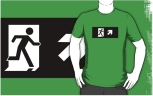 Running Man Fire Safety Exit Sign Emergency Evacuation Adult T-Shirt 92