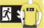Running Man Fire Safety Exit Sign Emergency Evacuation Adult T-Shirt 93