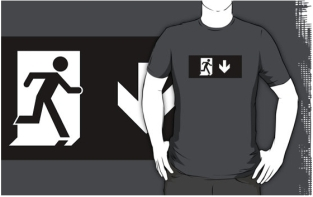 Running Man Fire Safety Exit Sign Emergency Evacuation Adult T-Shirt 94