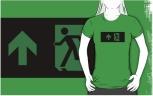Running Man Fire Safety Exit Sign Emergency Evacuation Adult T-Shirt 96