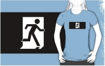 Running Man Fire Safety Exit Sign Emergency Evacuation Adult T-Shirt 98