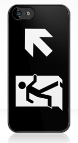 Running Man Fire Safety Exit Sign Emergency Evacuation Apple iPhone 5 Mobile Phone Case 129