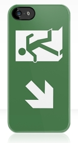 Running Man Fire Safety Exit Sign Emergency Evacuation Apple iPhone 5 Mobile Phone Case 136