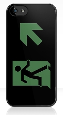 Running Man Fire Safety Exit Sign Emergency Evacuation Apple iPhone 5 Mobile Phone Case 154