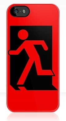 Running Man Fire Safety Exit Sign Emergency Evacuation Apple iPhone 5 Mobile Phone Case 159