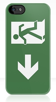 Running Man Fire Safety Exit Sign Emergency Evacuation Apple iPhone 5 Mobile Phone Case 164
