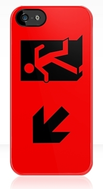 Running Man Fire Safety Exit Sign Emergency Evacuation Apple iPhone 5 Mobile Phone Case 36