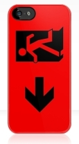 Running Man Fire Safety Exit Sign Emergency Evacuation Apple iPhone 5 Mobile Phone Case 43