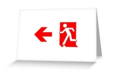 Running Man Fire Safety Exit Sign Emergency Evacuation Greeting Card 102