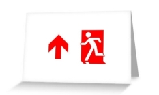 Running Man Fire Safety Exit Sign Emergency Evacuation Greeting Card 103