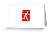 Running Man Fire Safety Exit Sign Emergency Evacuation Greeting Card 104