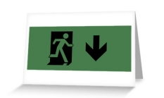 Running Man Fire Safety Exit Sign Emergency Evacuation Greeting Card 105