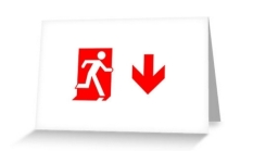 Running Man Fire Safety Exit Sign Emergency Evacuation Greeting Card 106