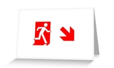 Running Man Fire Safety Exit Sign Emergency Evacuation Greeting Card 107